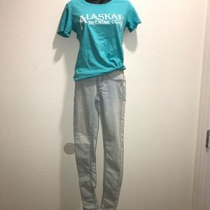 Denim - Size 0 light wash jeans and Alaskan brewing co